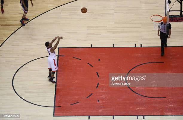 TORONTO ON APRIL 14 Toronto Raptors guard Kyle Lowry shoots a foul shot after being flagrantly fouled as the Toronto Raptors open the first round of...