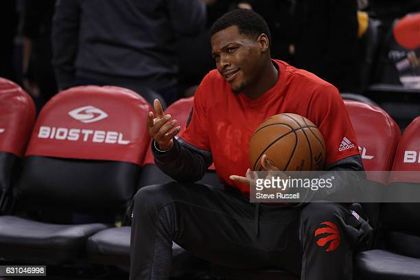 TORONTO ON JANUARY 5 Toronto Raptors guard Kyle Lowry takes a seat during warm ups as the Toronto Raptors beat the Utah Jazz 10193 at Air Canada...