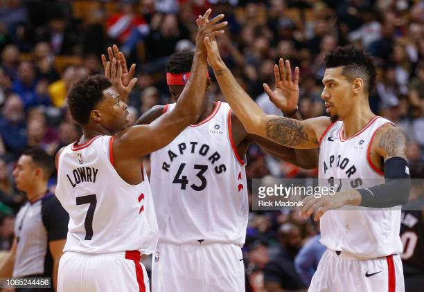 Toronto Raptors guard Kyle Lowry Toronto Raptors forward Pascal Siakam and Toronto Raptors guard Danny Green get together to celebrate the solid lead...