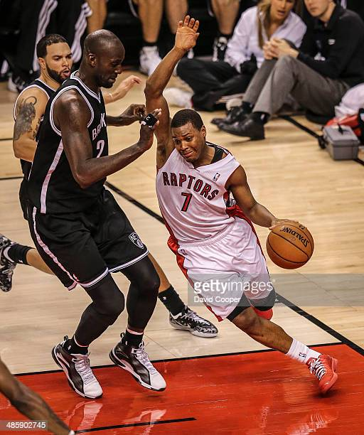 Toronto Raptors guard Kyle Lowry tries to get by Brooklyn Nets centre Kevin Garnett during the game. The Brooklyn Nets defeated the Toronto Raptors...