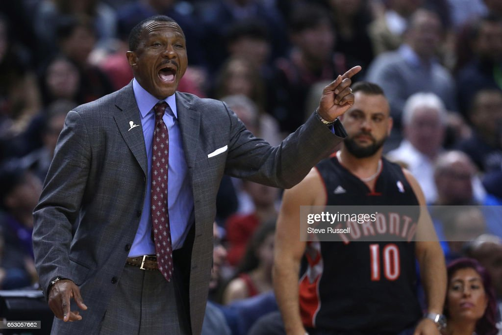 TORONTO, ON- MARCH 13 - Toronto Raptors head coach Dwane Casey shouts instructions as the Toronto Raptors beat the Dallas Mavericks 100-78 at the Air Canada Centre in Toronto. March 13, 2017.