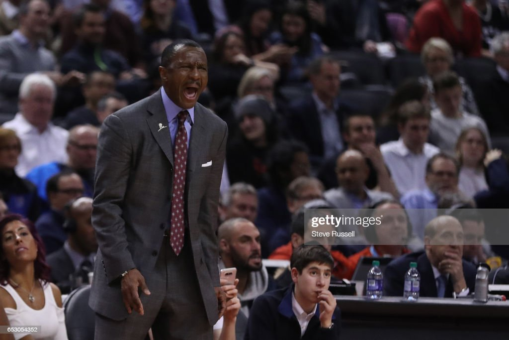 TORONTO, ON- MARCH 13 - Toronto Raptors head coach Dwane Casey yells as the Toronto Raptors beat the Dallas Mavericks 100-78 at the Air Canada Centre in Toronto. March 13, 2017.