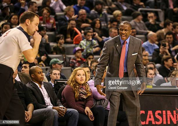 TORONTO ON FEBRUARY 27 Toronto Raptors head coach Dwayne Casey questions a call by the ref during the game between the Toronto Raptors and the...