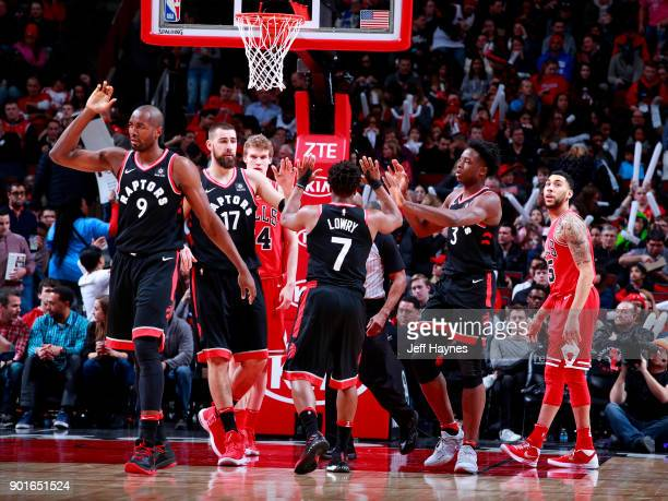 Toronto Raptors highfive during the game against the Chicago Bulls on January 3 2018 at the United Center in Chicago Illinois NOTE TO USER User...