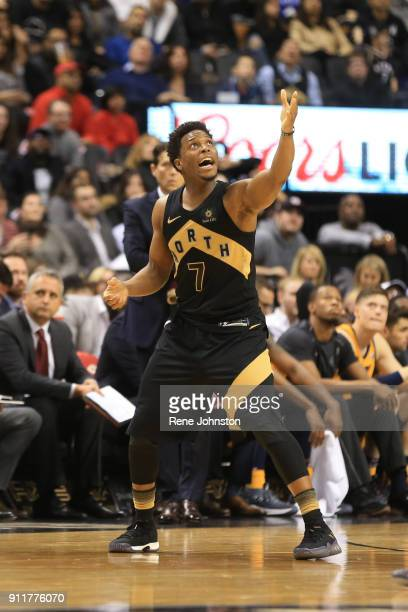 TORONTO ON JANUARY 26 Toronto Raptors Kyle Lowry pleads for the jump ball call against the Utah Jazz at the end of the second half
