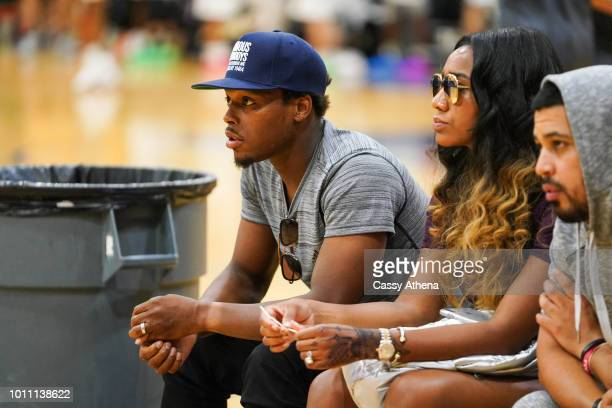 Toronto Raptor's Kyle Lowry watches AAU Team KLow Elite court side at the Fab 48 tournament at Bishop Gorman High School on July 26 2018 in Las Vegas...