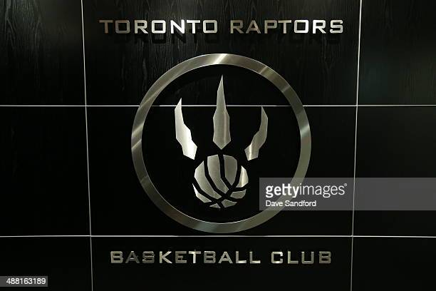 Toronto Raptors logo in locker room before Game seven of the Quarterfinal NBA Eastern Conference playoff game against the Brooklyn Nets at the Air...