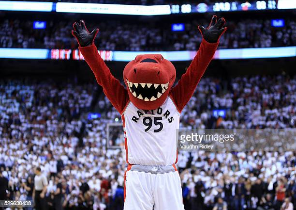 Toronto Raptors mascot The Raptor cheers in the second half of Game Two of the Eastern Conference Semifinals against the Miami Heat during the 2016...