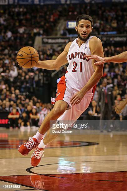Toronto Raptors new point guard Greivis Vasquez drives in the paint late in the game as theToronto Raptors defeated the Philadelphia 76ers 108-100 at...