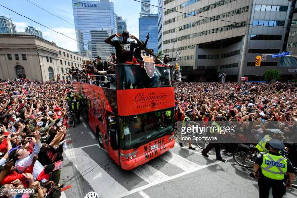 Toronto Raptors player Pascal Siakam rides on the bus during the Toronto Raptors Championship parade on June 13 2019 in Toronto ON Canada