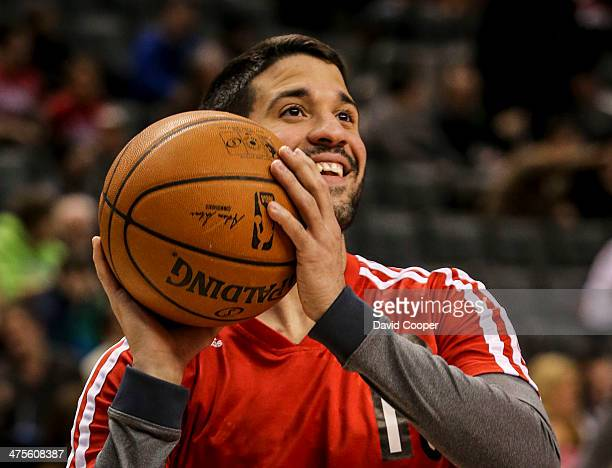 TORONTO ON FEBRUARY 27 Toronto Raptors point guard Greivis Vasquez looks at the hoop during the warm up before the game between the Toronto Raptors...