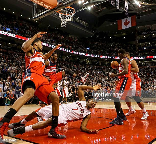 Toronto Raptors point guard Kyle Lowry desn't get the call as he fails to score in overtime with the score114-114 during the game between the Toronto...