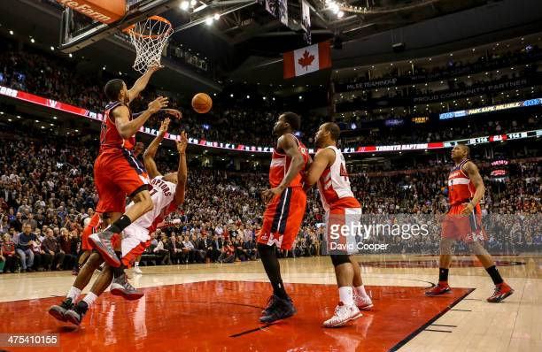TORONTO ON FEBRUARY 27 Toronto Raptors point guard Kyle Lowry didn't get the call as he fails to score in overtime with the score114114 during the...
