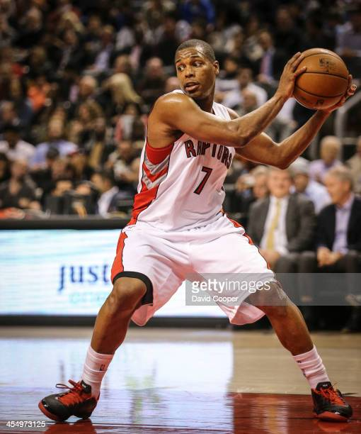 Toronto Raptors point guard Kyle Lowry looks to pass from the paint as the San Antonio Spurs defeated theToronto Raptors 116-103 at the Air Canada...