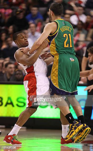 Toronto Raptors point guard Kyle Lowry runs into New Orleans Hornets point guard Greivis Vasquez as the Toronto Raptors beat the New Orleans Hornets...