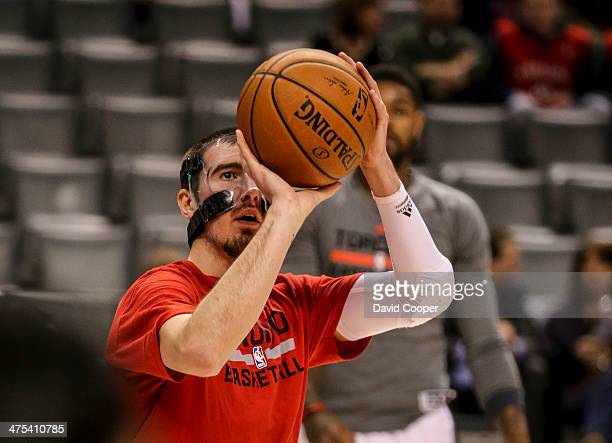 TORONTO ON FEBRUARY 27 Toronto Raptors point guard Nando de Colo warmed up but didn't play during the game between the Toronto Raptors and the...
