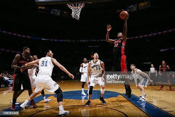 Toronto Raptors power forward Ed Davis goes to the basket during the game against the Washington Wizards at the Verizon Center on January 15 2011 in...