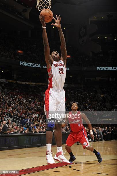 Toronto Raptors power forward Ed Davis goes to the basket during the game against the Los Angeles Clippers on February 13 2011 at the Air Canada...