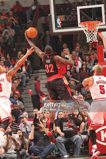 Toronto Raptors power forward Ed Davis protects the ball during the game against the Chicago Bulls on April 2 2011 at the United Center in Chicago...