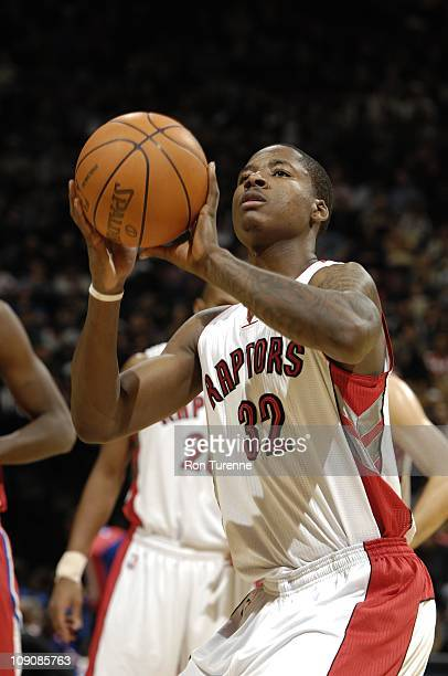 Toronto Raptors power forward Ed Davis shoots a free throw during the game against the Los Angeles Clippers on February 13 2011 at the Air Canada...