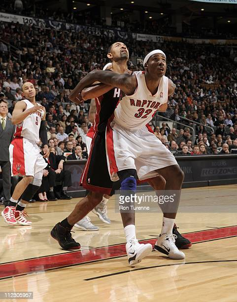 Toronto Raptors power forward Ed Davis waits for a rebound and restrains his opponent during the game against the Miami Heat on April 13 2011 at the...