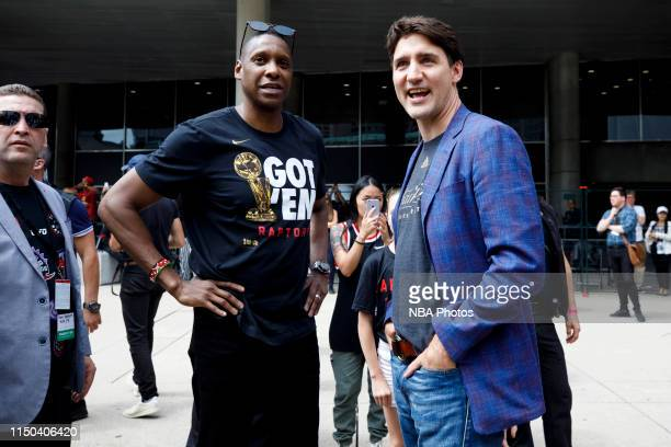 Toronto Raptors President Masai Ujiri and Prime Minister of Canada Justin Trudeau are photographed during the Toronto Raptors Championship Victory...
