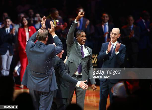 Toronto Raptors President Masai Ujiri receives his ring during the Toronto Raptors Ring Ceremony at Scotiabank Arena on October 22, 2019 in Toronto,...