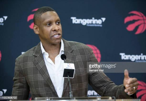 Toronto Raptors President Masai Ujiri talks to the media during a press conference about the DeMar DeRozan-Kawhi Leonard trade at Scotiabank Arena,...