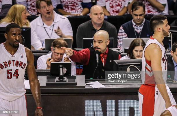 TORONTO ON APRIL 19 Toronto Raptors public address announcer Herbie Kuhn was forced to be a verbal the shot clock from the third quarter on during...