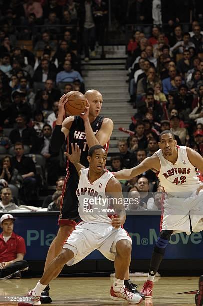 Toronto Raptors shooting guard DeMar DeRozan stops Miami Heat center Zydrunas Ilgauskas during the game against the Miami Heat on April 13 2011 at...