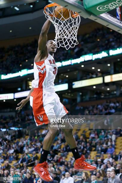 Toronto Raptors shooting guard Terrence Ross dunks the ball during the Boston Celtics 11288 victory over the Toronto Raptors at the TD Garden on...