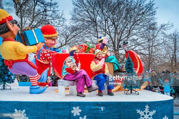toronto santa claus parade ontario canada - parade stock pictures, royalty-free photos & images