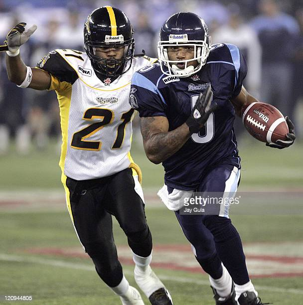 Toronto SB Arland Bruce III in CFL action at Rogers Centre Toronto Argonauts won the game with a score of 3411 in Toronto on October 27 2005