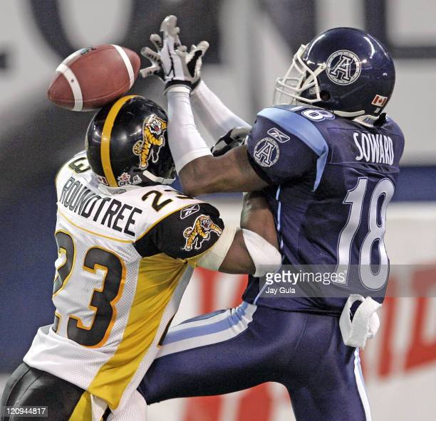 Toronto SB R.J.Soward can't come up with the catch in the endzone as the ball is knocked away by Hamilton DB Alphonso Roundtree in CFL action,...