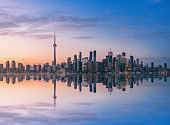 Toronto Skyline at sunset with reflection - Toronto, Ontario, Canada