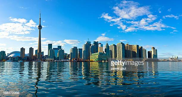 Toronto skyline reflected in lake Ontario
