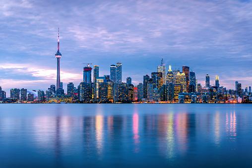 Toronto Skyline under Cloudy Sky at Dusk 894647622