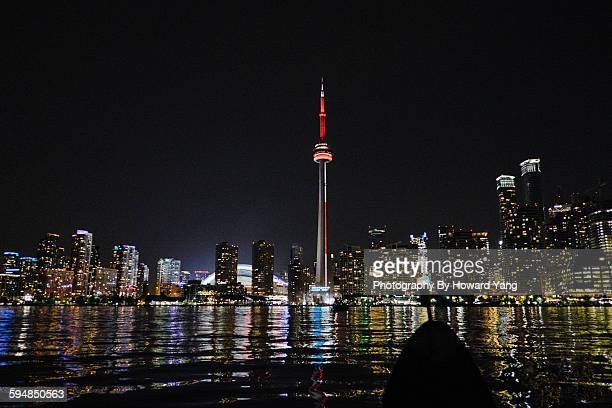 toronto skyline view from the harbour - cn tower stock pictures, royalty-free photos & images