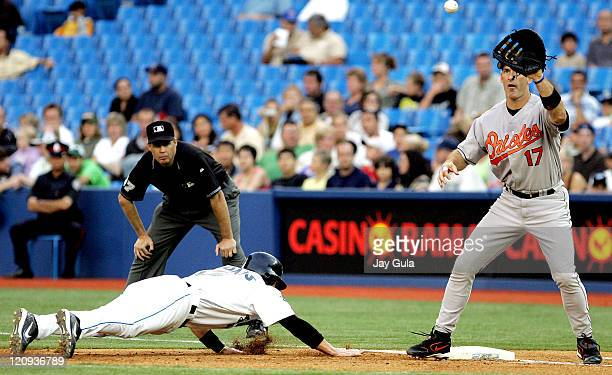 Toronto SS Russ Adams dives back into the 1st base bag ahead of 1st baseman BJSurhoff's tag in MLB action at Rogers Centre September 1 2005