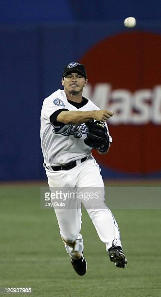 Toronto SS Russ Adams throws to 1st for an out in action at Rogers Centre in Toronto Canada on April 6 2006