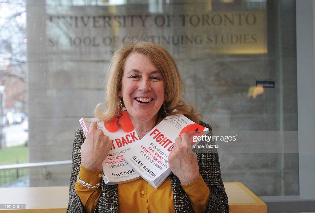Toronto Star reporter Ellen Roseman at her book launch at U of T School of Continuing Studies Atrium.