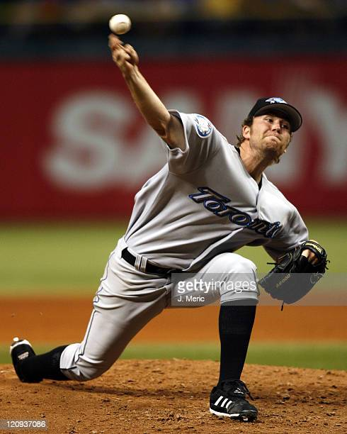 Toronto starting pitcher Casey Janssen makes a pitch during Friday night's action against the Tampa Bay Devil Rays at Tropicana Field in St....