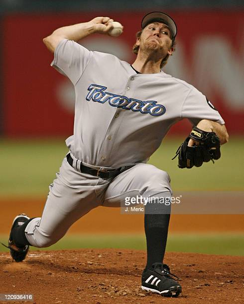 Toronto starting pitcher Casey Janssen makes a pitch early in Friday night's game against Tampa Bay at Tropicana Field in St. Petersburg, Florida on...