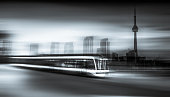 streetcar at forefront toronto ontario skyline