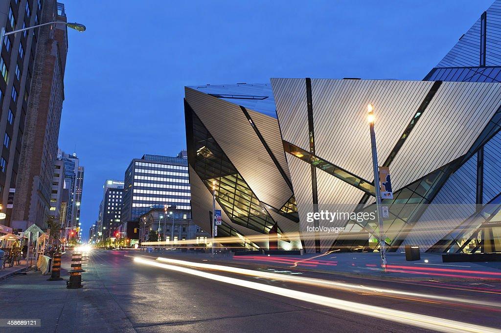 Toronto The Crystal Royal Ontario Museum illuminated Canada : Stock Photo