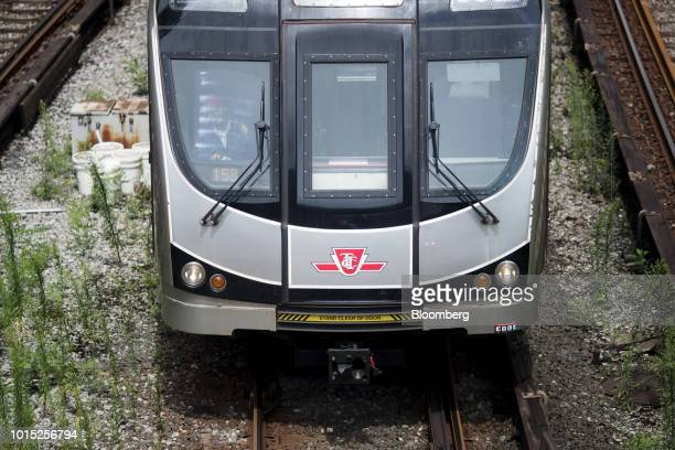 A Toronto Transit Commission commuter train travels down a track in Toronto Ontario Canada on Wednesday Aug 8 2018 The TTC had to return 67 out of 89...