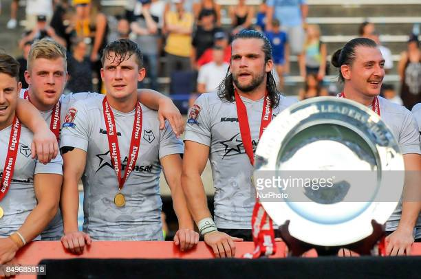 Toronto Wolfpack players celebrate the victory after Super 8s Round 7 game between Toronto Wolfpack vs Doncaster RLFC at Allan A Lamport Stadium in...