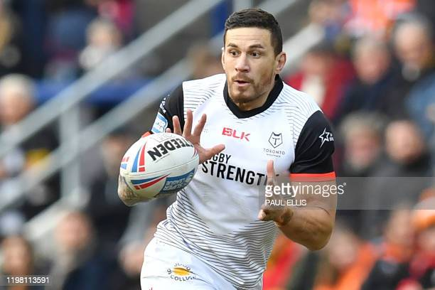 Toronto Wolfpack's New Zealand player Sonny Bill WIlliams receives the ball during the English rugby league super league match between Castleford...
