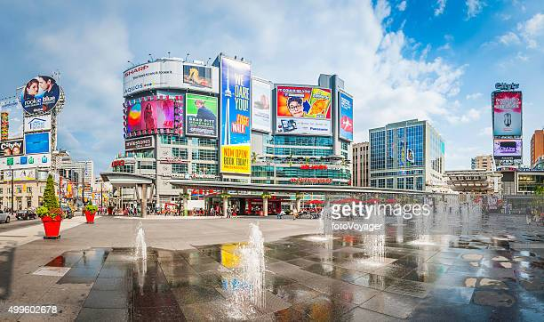 Toronto Yonge Dundas Square downtown fountains and colorful billboards Canada