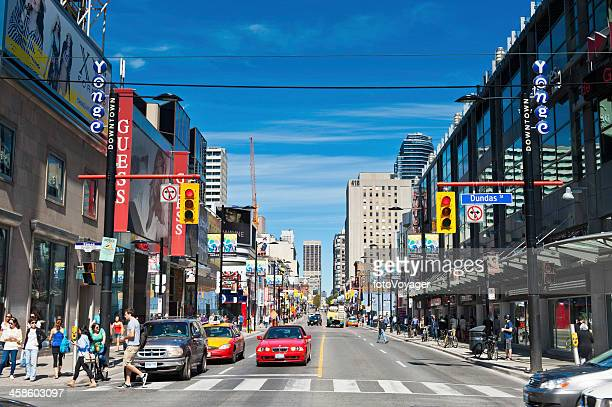 Toronto Yonge Street colourful downtown shopping district Ontario